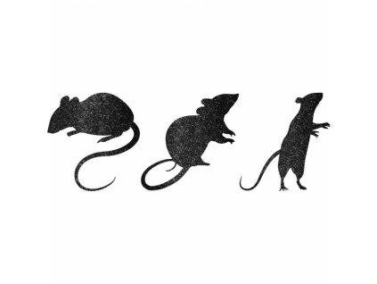 Glitrované papierové myšky - dekorácia