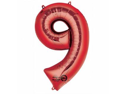Balónik fóliový narodeninové číslo 9 červený 86 cm