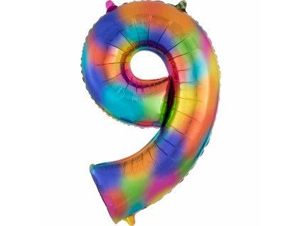 Balónik fóliový narodeninové číslo 9 dúhový 86 cm