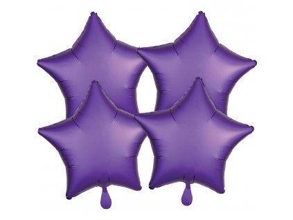 Fóliové balóny sada hviezdy satén - fialové 4 ks