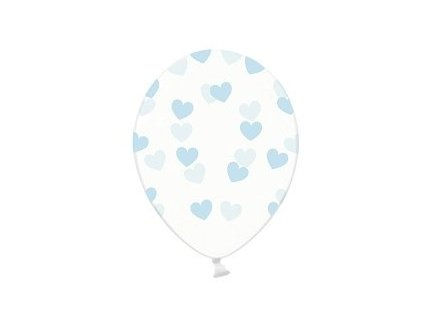 Balónik - Priesvitný s modrými srdiečkami