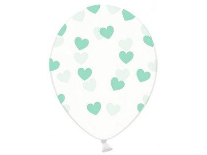 Balónik - Priesvitný so zelenými srdiečkami