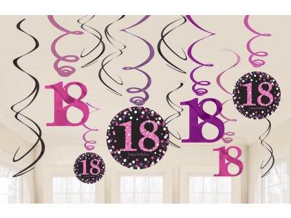 Dekorácia Víry 18. narodeniny - Trblietavá ružová