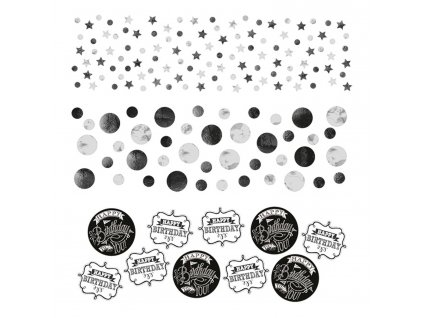 Konfety Happy Birthday - Čiernobiele