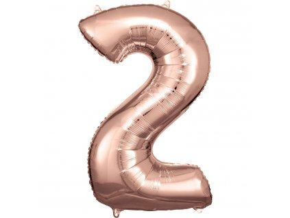 Balónik fóliový narodeninové číslo 2 ružovo-zlatý 86 cm