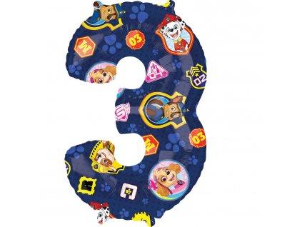 Balónik fóliový narodeninové číslo 3  - Tlapková hliadka 66 cm