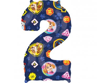 Balónik fóliový narodeninové číslo 2  - Tlapková hliadka 66 cm