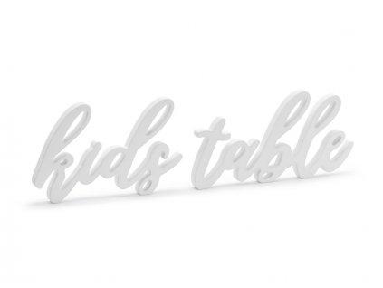 Drevená dekorácia - Kids table, biela