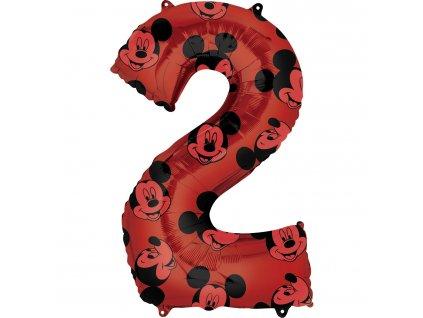 Balónik fóliový narodeninové číslo 2 - Mickey Mouse 66 cm