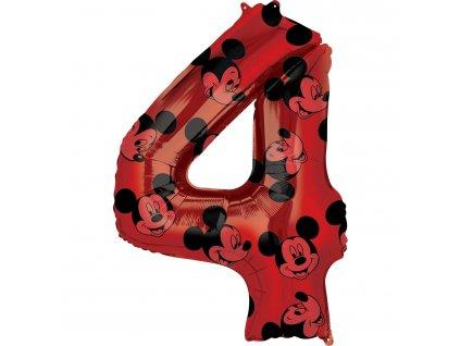 Balónik fóliový narodeninové číslo 4 - Mickey Mouse 66 cm