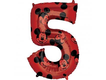 Balónik fóliový narodeninové číslo 5 - Mickey Mouse 66 cm