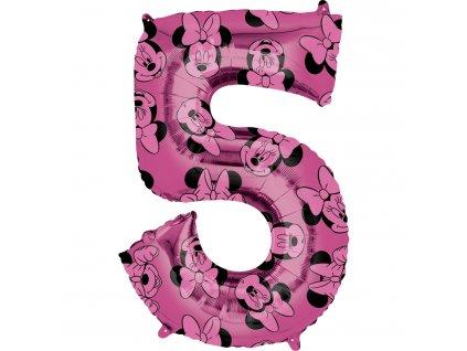 Balónik fóliový narodeninové číslo 5 - Minnie 66 cm