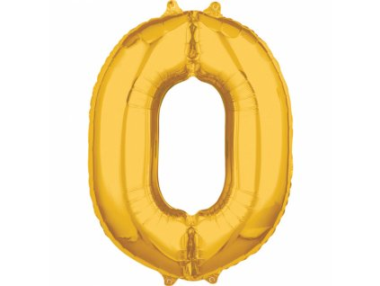 Fóliový balón narodeninové číslo 0 zlatý 66cm