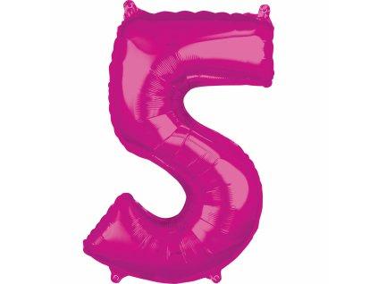 Fóliový balón narodeninové číslo 5 ružový 66cm