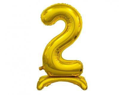 Samostojaci fóliový balón 2 zlatý 74 cm