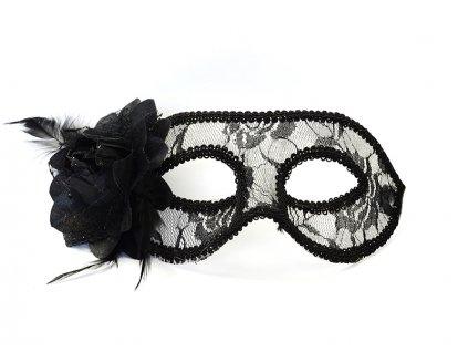 Čipkovaná maska s ružou čierna