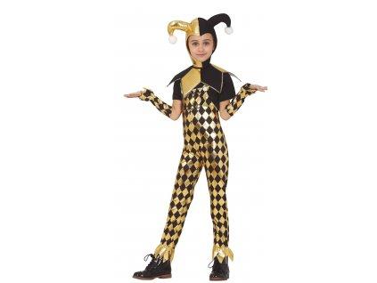 Detský kostým - čierno-zlatá Harley Quinn