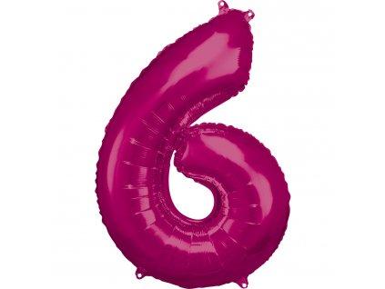 Balónik fóliový narodeninové číslo 6 ružový 86 cm