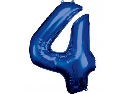Balónik fóliový narodeninové číslo 4 modrý 86 cm