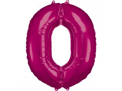 Balónik fóliový narodeninové číslo 0 ružový 86 cm