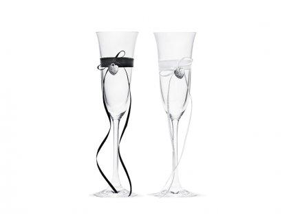 Svadobné poháre s kľúčom a srdiečkom