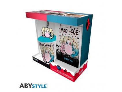 dc comics pck mug250ml keyring notebook harley quinn mad love