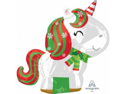 Fóliový balón - vianočný jednorožec