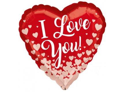 52739 foliovy balon i love you ruzovozlate srdce