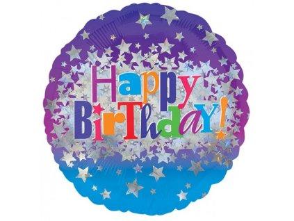 53570 foliovy balon happy birthday hviezdy 43 cm