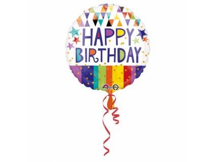 Fóliový balón - Happy birthday 43 cm
