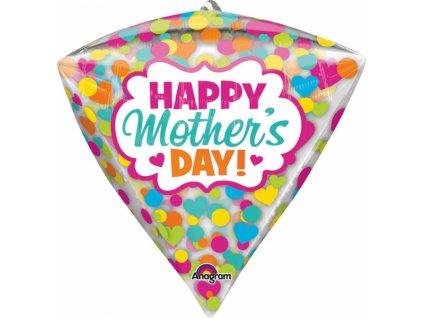 Fóliový balón Diamant s kvietkami a bodkami - Deň Matiek