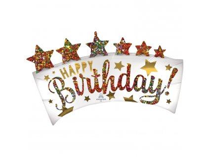 Fóliový balón banner Happy Birthday 34 x 86 cm