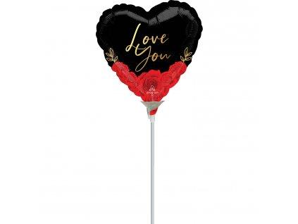 Mini fóliový balón - Srdiečko s ružami Love you