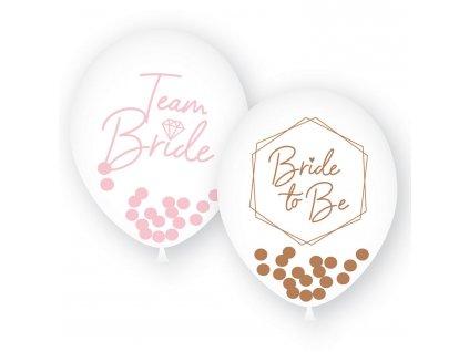 Latexové balóny Bride - ružová, zlatá 6 ks
