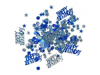 Konfety Happy Birthday - modré mix