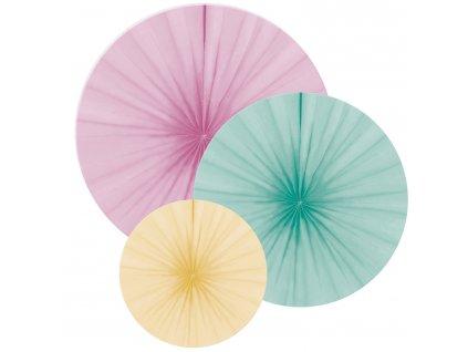 Dekoračné rozety - pastelové mix 3 ks