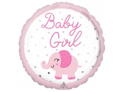 Fóliový balón - Baby Girl ružový sloník