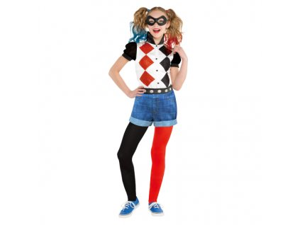 Detský kostým - Čierno-červená Harley Quinn