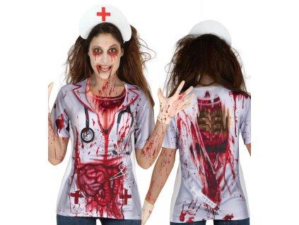 Tricko s potlacou Zombie zdravotna sestra