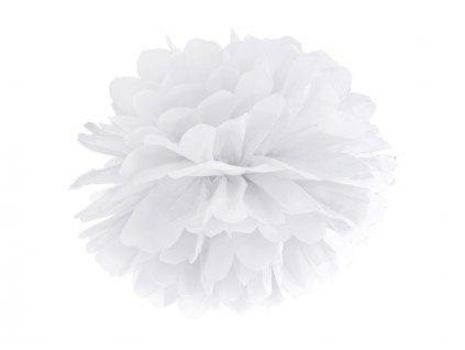Pompom v tvare bieleho kvetu 35 cm