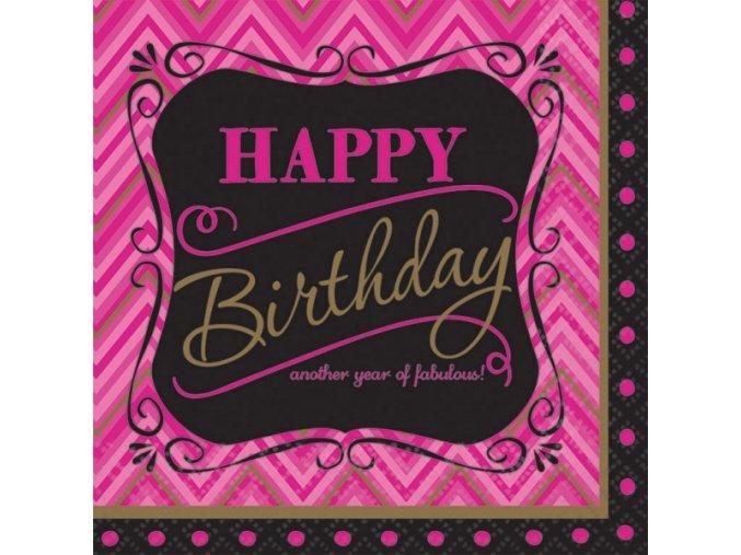 Servítky Happy Birthday - Born to be fabulous! 16 ks