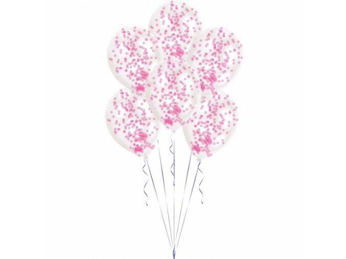 Latexové balóny s konfetami ružové 6 ks