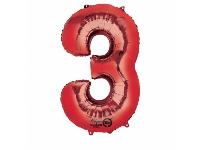 Balónik fóliový narodeninové číslo 3 červený 86 cm