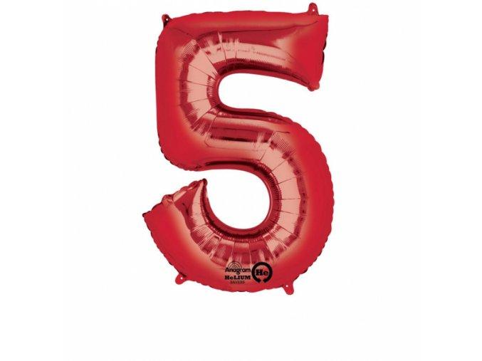 Balónik fóliový narodeninové číslo 5 červený 86 cm