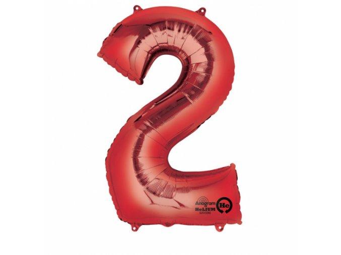 Balónik fóliový narodeniny číslo 2 červený 86cm