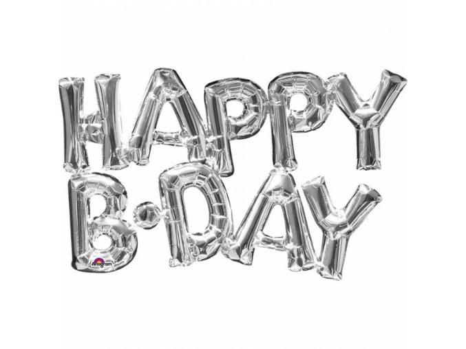 Fóliový balón HAPPY B DAY strieborný