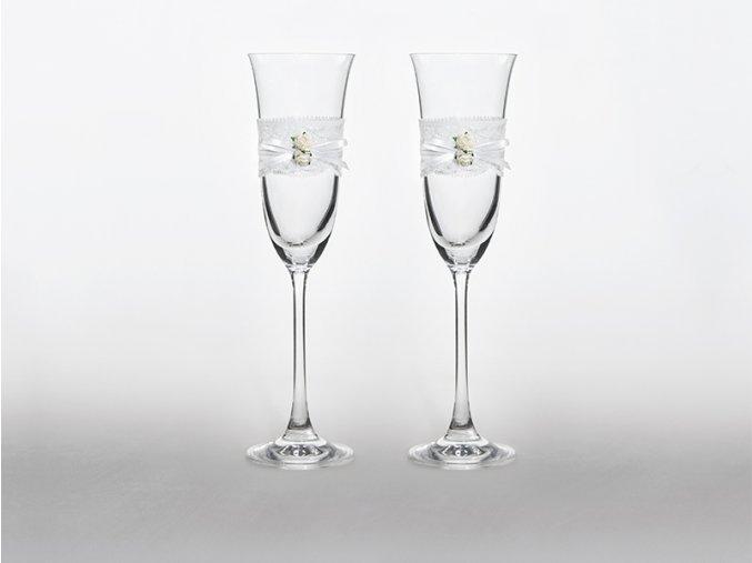 Svadobné poháre s bielymi ružami