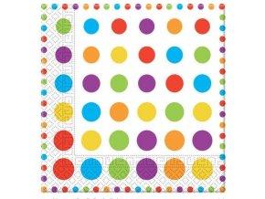 Servítky farebné bodky 33 x 33 20 ks