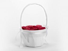Košík saténový biely na lupene ruží