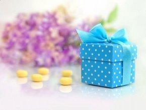 Krabička bodkovaná modrá s mašličkou